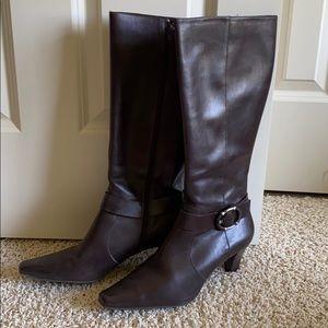 Ann Klein Dark Brown Leather Boots, 10
